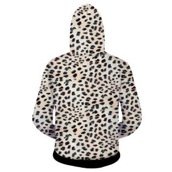 Fitted Trendy Hooded 3D Leopard Head Pattern Long Sleeve Men's Cotton Blend Hoodie - LEOPARD S