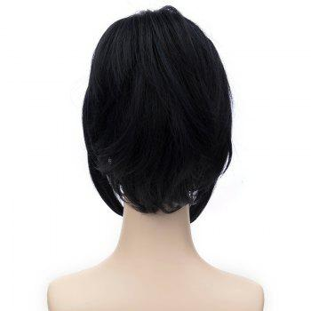 Yamatonokami Yasusada Fashionable Side Bang Capless Short Cosplay Wig With Ponytail - BLUE BLACK