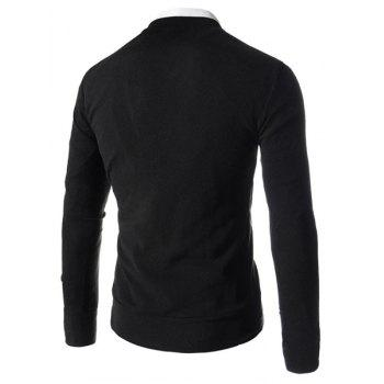 Slimming Stylish V-Neck Single Breasted Solid Color Long Sleeve Polyester Men's Cardigan - BLACK 2XL