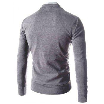 Slimming Stylish V-Neck Single Breasted Solid Color Long Sleeve Polyester Men's Cardigan - LIGHT GRAY M