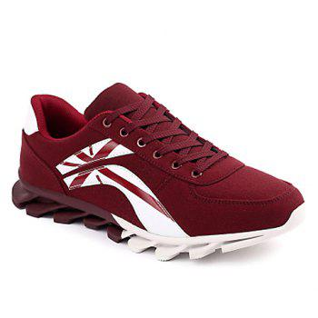 Fashionable Cross and Color Block Design Athletic Shoes For Men - WINE RED WINE RED