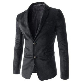 Slimming Stylish Lapel Houndstooth Splicing Long Sleeve Men's Cotton Blend Blazer - BLACK L