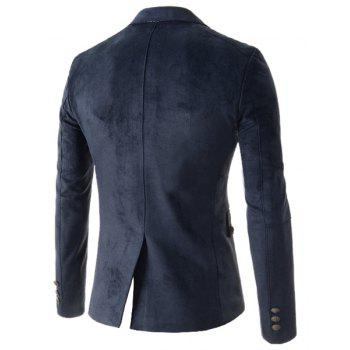 Slimming Stylish Lapel Houndstooth Splicing Long Sleeve Men's Cotton Blend Blazer - DEEP BLUE L