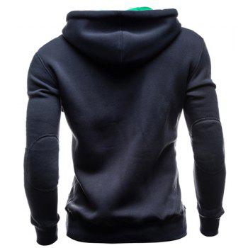 IZZUMI Slimming Hooded Single-Breasted Front Pocket Applique Design Long Sleeves Hoodie For Men - CADETBLUE M