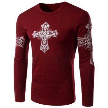 Modern Style Round Neck Color Block Special Cross Print Slimming Long Sleeves Men's Flocky T-Shirt RED