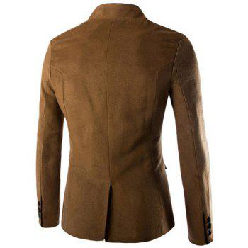 Slimming Stylish Stand Collar Single Breasted Color Block Edging Long Sleeve Men's Woolen Blend Blazer - CAMEL XL