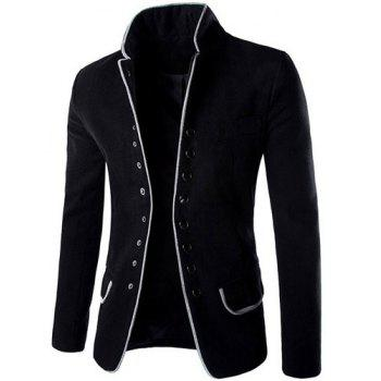 Slimming Stylish Stand Collar Single Breasted Color Block Edging Long Sleeve Men's Woolen Blend Blazer - BLACK XL