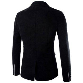 Slimming Stylish Stand Collar Single Breasted Color Block Edging Long Sleeve Men's Woolen Blend Blazer - BLACK 2XL
