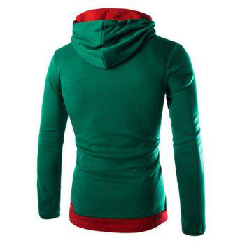 Slimming Stylish Hooded Simple Color Block Splicing Long Sleeve Men's Cotton Blend Hoodie - GREEN M