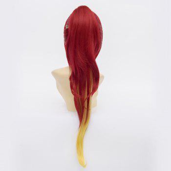 Kirigakure Shura Red Ombre Gold Shaggy Natural Wave With Ponytail Trendy Long Side Bang Cosplay Wig - OMBRE