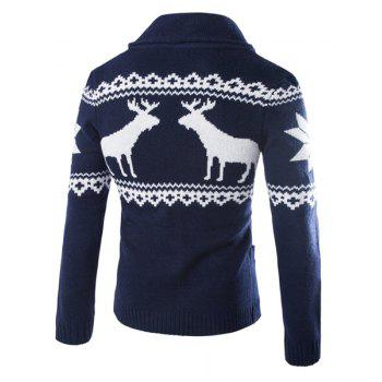 Fawn Snowflake Christmas Jacquard Button Up Cardigan - CADETBLUE L
