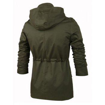 Drawstring Waist Multi-Button Letters Applique Epaulet Design Hooded Long Sleeves Men's Trench Coat - ARMY GREEN M