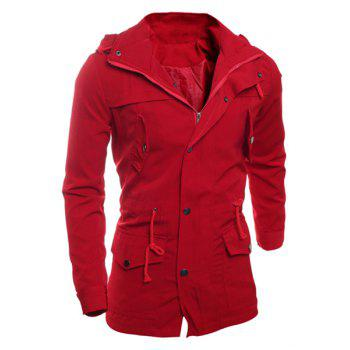 Drawstring Waist Multi-Button Patch Pocket Back Slit Hooded Long Sleeves Slimming Men's Safari Jacket - RED XL