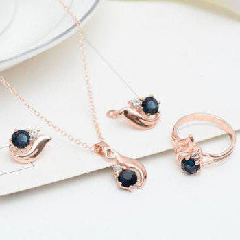 A Suit of Rhinestone Necklace Earrings and Ring - ROSE GOLD