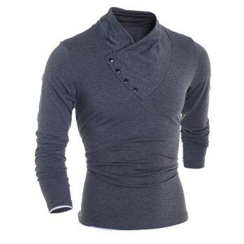 Inclined Single-Breasted Color Block Cuffs Slimming Heaps Collar Long Sleeves Men's T-Shirt - DEEP GRAY L