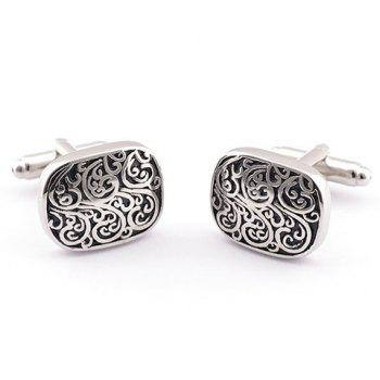 Pair of Stylish Retro Carve Embellished Men's Alloy Cufflinks -  SILVER