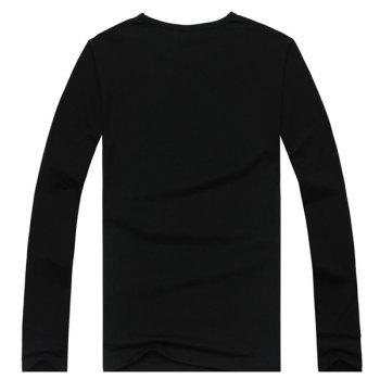Slimming Stylish Round Neck 3D Skull Pattern Long Sleeve Men's Cotton Blend T-Shirt - BLACK 3XL