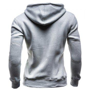 IZZUMI Slimming Hooded Single-Breasted Front Pocket Applique Design Long Sleeves Hoodie For Men - LIGHT GRAY M