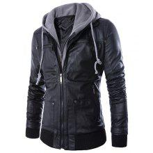 Hooded Rib PU Leather Faux Twinset Jacket