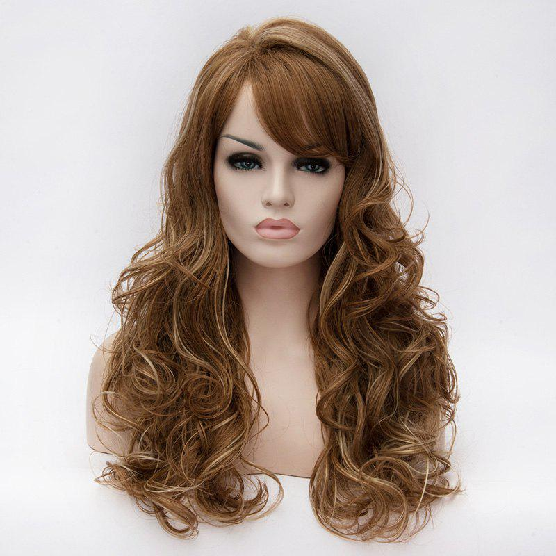 Brown Mixed Blonde Long Vogue Fluffy Wavy Side Bang Heat Resistant Synthetic Capless Women's Wig - COLORMIX