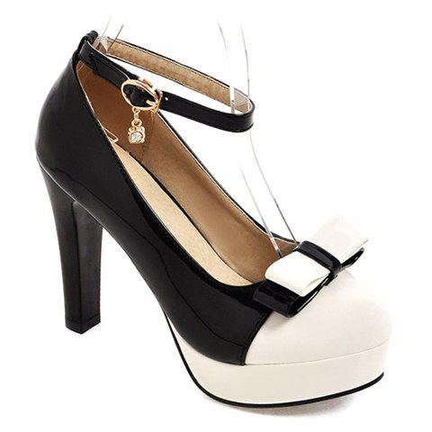 Sweet Ankle Strap and Bow Design Pumps For Women - BLACK 37
