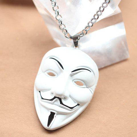 Stylish V For Vendetta Mask Pendant Necklace - WHITE