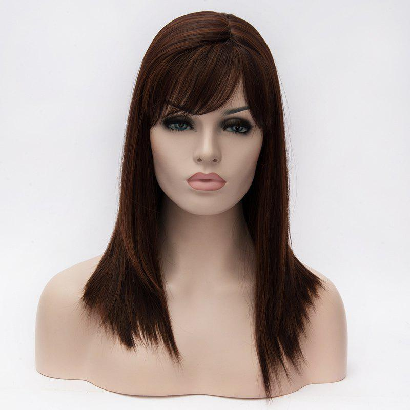 Vogue Silky Straight Deep Brown Inclined Bang Heat Resistant Fiber Long Capless Wig For Women