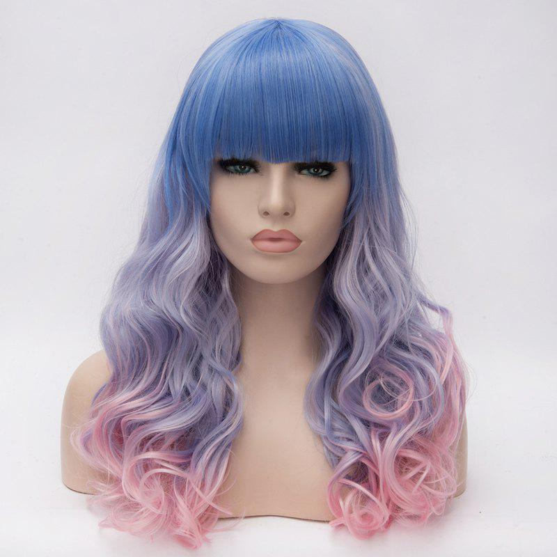 Colorful Ombre Harajuku Nobby Neat Bang Long Capless Wavy Heat Resistant Fiber Wig For Women