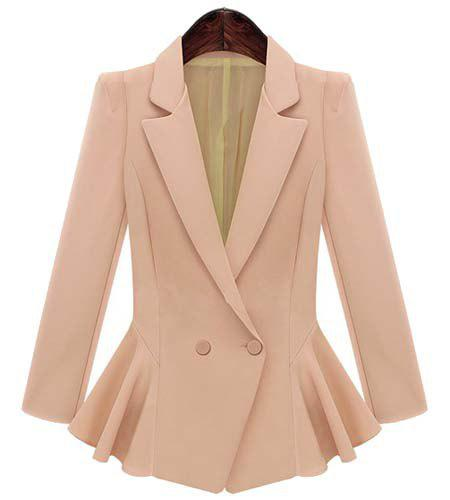 Ladylike Women's Lapel Long Sleeve Solid Color Flounced Blazer - PINK M