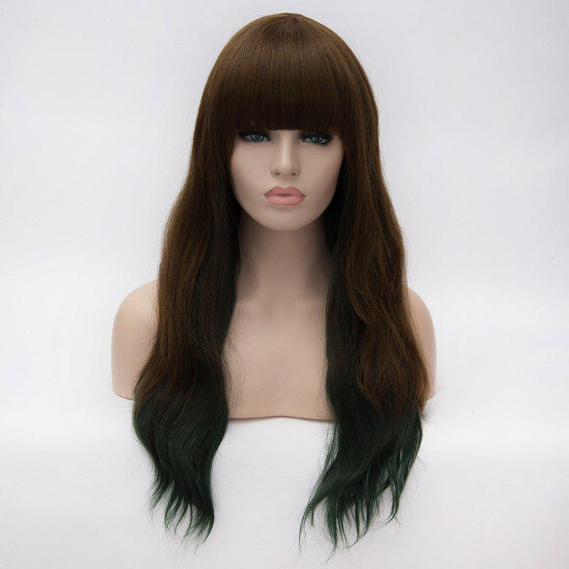 Trendy Heat Resistant Fiber Fluffy Wavy Long Full Bang Brown to Green Ombre Capless Wig For Women