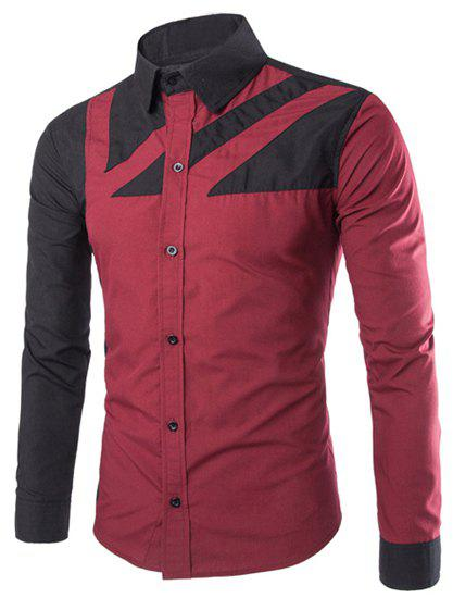 Slimming Trendy Shirt Collar Color Block Irregular Splicing Long Sleeve Polyester Men's Shirt