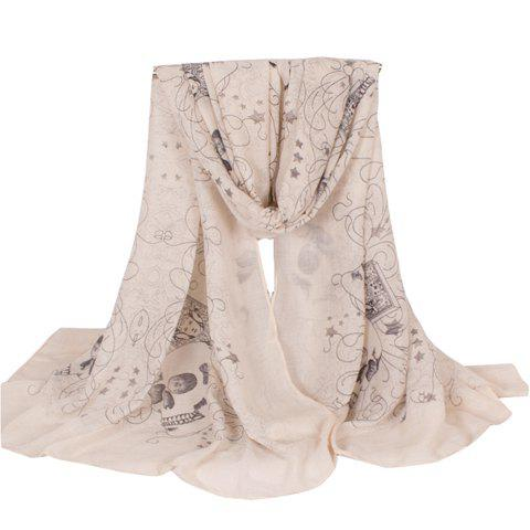 Chic Skull and Five-Pointed Star Pattern Women's Voile Scarf - LIGHT KHAKI