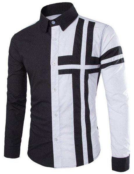 Slimming Stylish Shirt Collar Color Block Cross Pattern Splicing Long Sleeve Polyester Men's Shirt - BLACK M