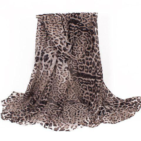 Chic Fulled Leopard Print Women's Voile Scarf - BLACK