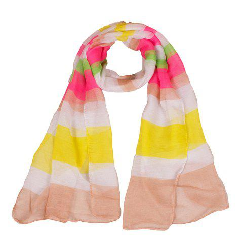 Chic Color Splice Wide Stripe Pattern Women's Voile Scarf - YELLOW
