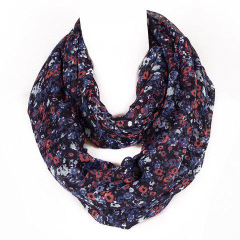 Chic Fulled Tiny Floral Pattern Women's Voile Scarf - BLACK
