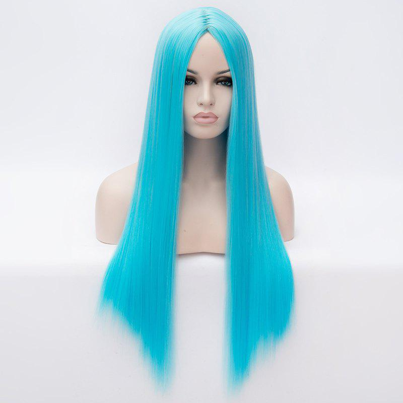 Graceful Heat Resistant Synthetic 70CM Long Centre Parting Silky Straight Capless Women's Wig - BLUE