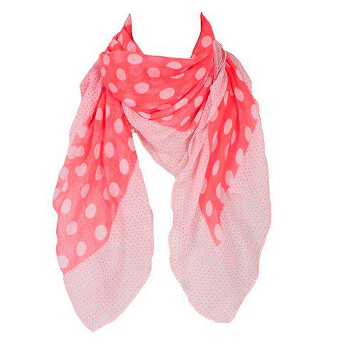 Chic Big and Small Polka Dot Pattern Women's Voile Square Scarf - RED