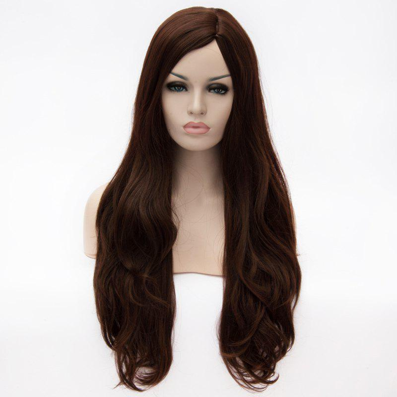 Fashion Super Long Centre Parting Deep Brown Wavy Capless Heat Resitant Synthetic Wig For Women - DEEP BROWN
