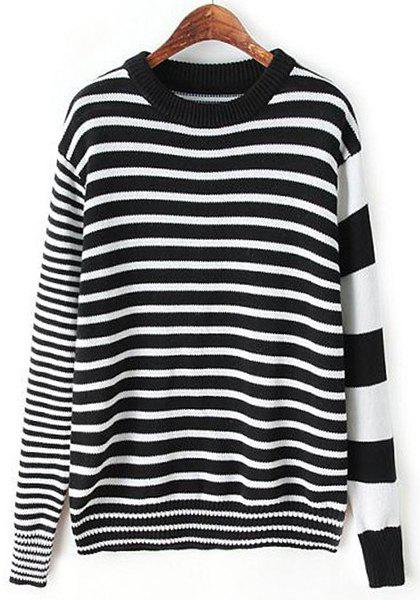 Concise Various Black Striped Pullover Knitwear For Women - WHITE/BLACK S