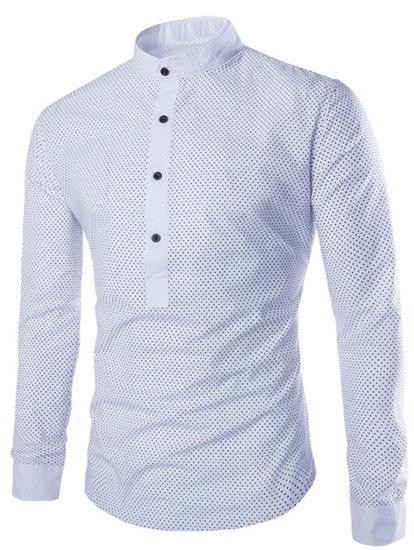 Slimming Modish Stand Collar Tiny Polka Dots Print Long Sleeve Polyester Men's Shirt - WHITE L
