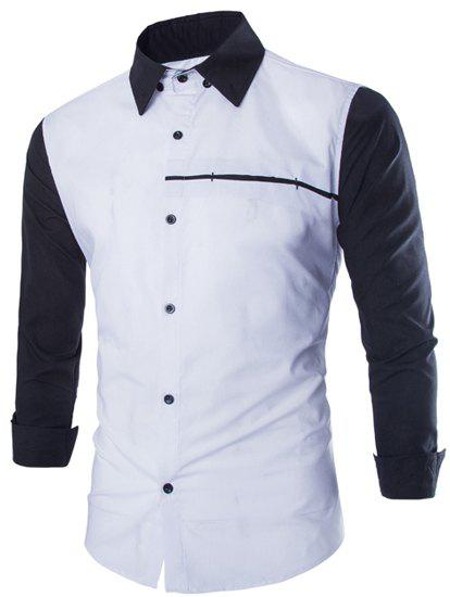 Slimming Fashion Shirt Collar Two Color Splicing Sutures Design Long Sleeve Polyester Men's Shirt - WHITE L