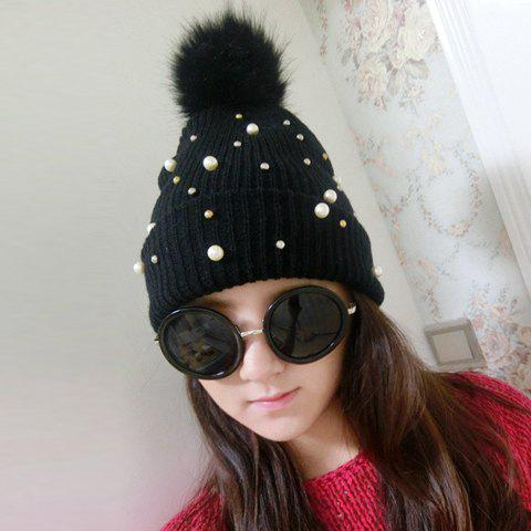 Chic Downy Ball and Faux Pearl Embellished Solid Color Women's Knitted Beanie - BLACK