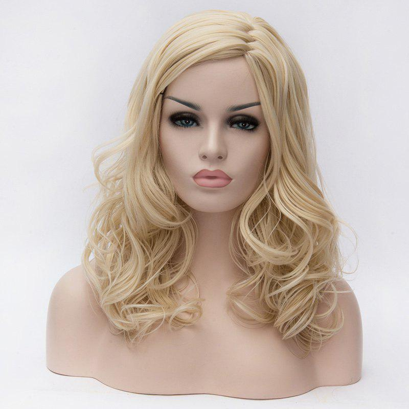 Elegant Shaggy Wavy Heat Resistant Synthetic Light Blonde Inclined Bang Capless Womens Wig