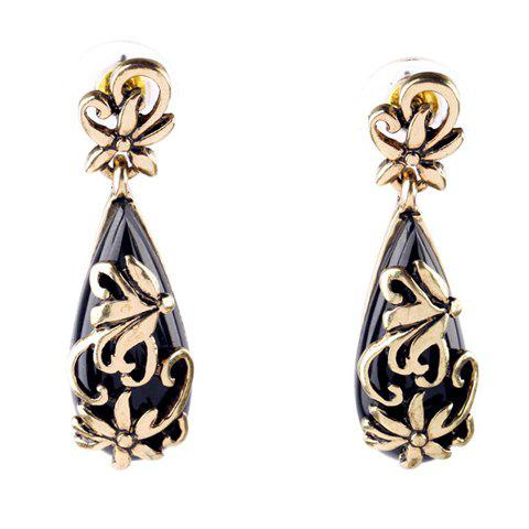Pair of Faux Gemstone Waterdrop Hollow Out Flower Earrings - GOLDEN