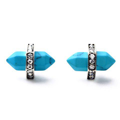Pair of Faux Turquoise Bullet Shape Earrings - TURQUOISE