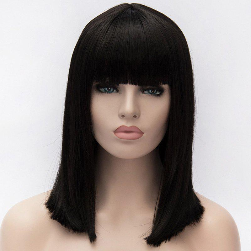 Elegant Heat Resistant Synthetic Silky Straight Capless Medium Natural Black Full Bang Wig For Women - BLACK
