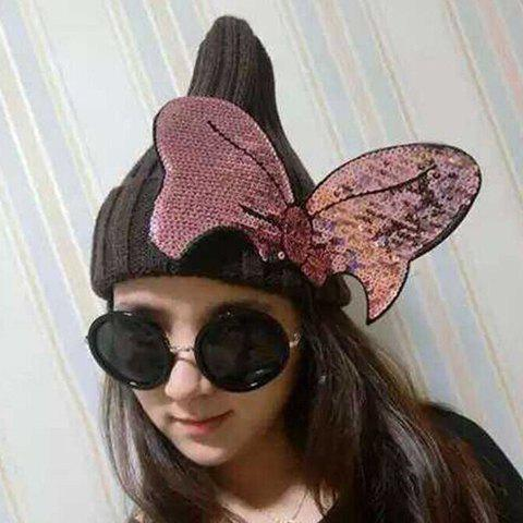 Fashion Women's Sequins Big Bowknot Embellished Solid Color Knitted Beanie - COLOR ASSORTED