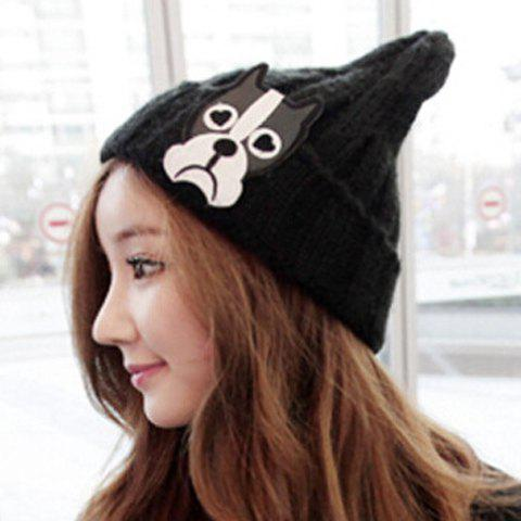 Fashion Women's Cartoon Dog Head Shape Embellished Knitted Beanie - COLOR ASSORTED