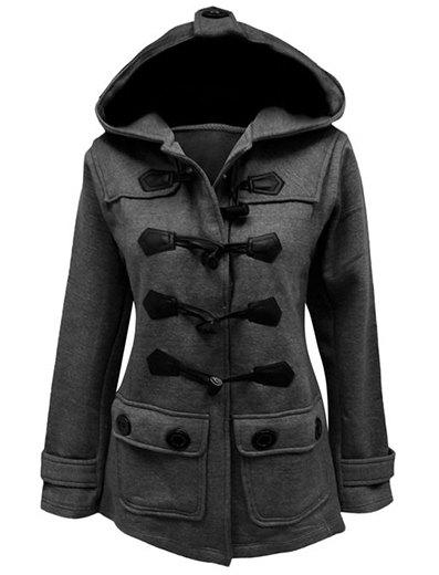 Stylish Hooded Solid Color Horn Button Slimming Long Sleeve Women's Coat christmas horn button hooded handkerchief coat